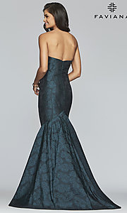 Image of long strapless mermaid prom dress by Faviana. Style: FA-S10118 Back Image