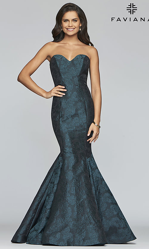 Image of long strapless mermaid prom dress by Faviana. Style: FA-S10118 Front Image