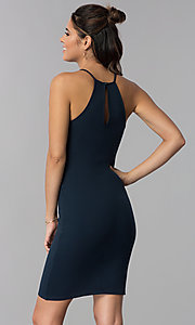 Image of navy blue short sheath wedding-guest party dress. Style: SOP-D16601MF Back Image