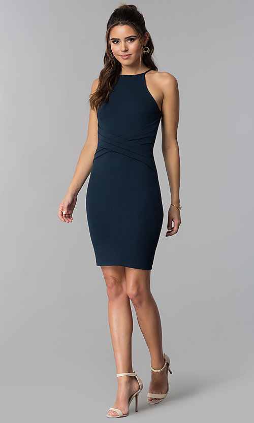 Image of navy blue short sheath wedding-guest party dress. Style: SOP-D16601MF Detail Image 3