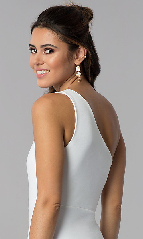 Image of ivory one-shoulder short graduation party dress.  Style: SOP-D16404MF Detail Image 2