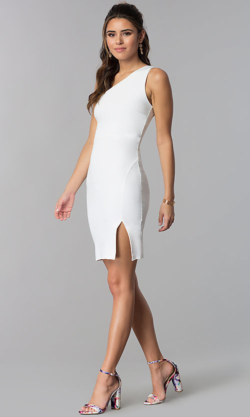 Image of ivory one-shoulder short graduation party dress.  Style: SOP-D16404MF Detail Image 3