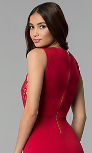 Image of red wedding-guest knee-length dress with lace. Style: ECI-719254-45535A Detail Image 2