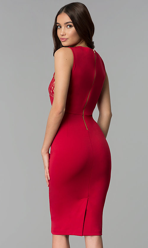 Image of red wedding-guest knee-length dress with lace. Style: ECI-719254-45535A Back Image