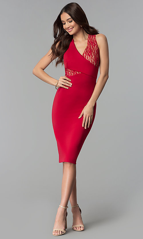 Image of red wedding-guest knee-length dress with lace. Style: ECI-719254-45535A Detail Image 3