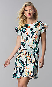 Image of faux-wrap short wedding guest print party dress. Style: ECI-720278-75739A Front Image