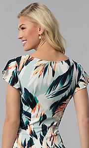 Image of faux-wrap short wedding guest print party dress. Style: ECI-720278-75739A Detail Image 2