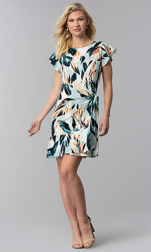 Image of faux-wrap short wedding guest print party dress. Style: ECI-720278-75739A Detail Image 3
