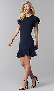 Image of ruffled-hem short navy blue wedding-guest dress. Style: ECI-720263-8245A Detail Image 3