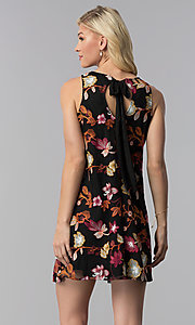 Image of wedding guest short shift embroidered black dress. Style: ECI-718935-50080A Back Image