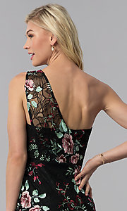 Image of one-shoulder embroidered short wedding-guest dress. Style: ECI-519387-7731 Detail Image 2