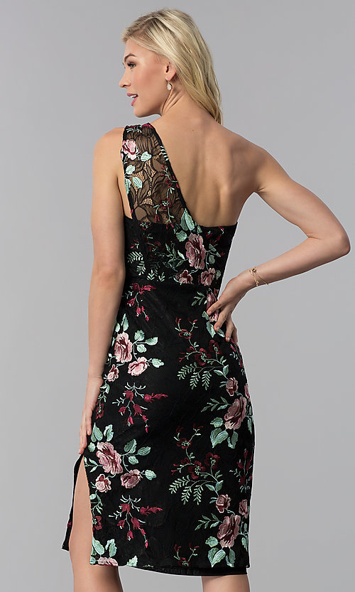 Image of one-shoulder embroidered short wedding-guest dress. Style: ECI-519387-7731 Back Image