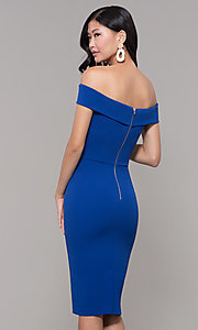 Image of off-the-shoulder knee-length wedding guest dress. Style: ECI-719901-7197 Back Image