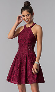 Image of burgundy lace a-line homecoming short party dress. Style: CT-3579PY1BT3 Front Image