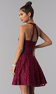 Image of burgundy lace a-line homecoming short party dress. Style: CT-3579PY1BT3 Back Image
