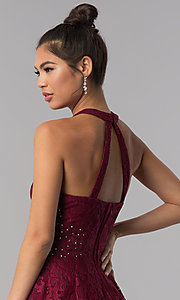 Image of burgundy lace a-line homecoming short party dress. Style: CT-3579PY1BT3 Detail Image 2