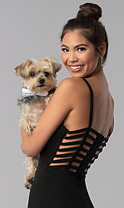 Image of short caged-open-back black homecoming party dress. Style: CT-7711QC7AT3 Detail Image 1