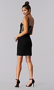 Image of short caged-open-back black homecoming party dress. Style: CT-7711QC7AT3 Detail Image 3