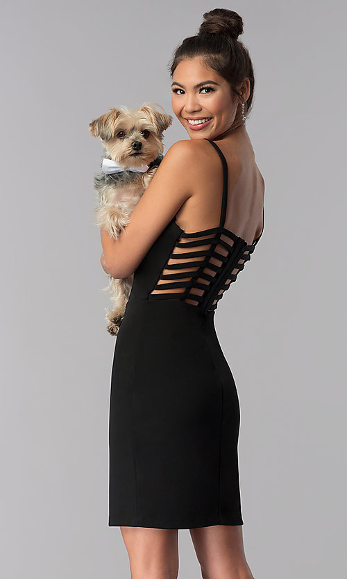 Image of short caged-open-back black homecoming party dress. Style: CT-7711QC7AT3 Front Image