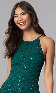 Image of short sequined-lace hunter green homecoming dress. Style: EM-DPS-3822-304 Detail Image 1