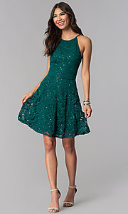 Image of short sequined-lace hunter green homecoming dress. Style: EM-DPS-3822-304 Detail Image 3