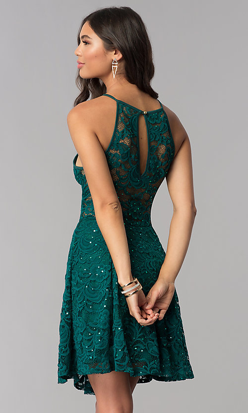 Image of short sequined-lace hunter green homecoming dress. Style: EM-DPS-3822-304 Back Image