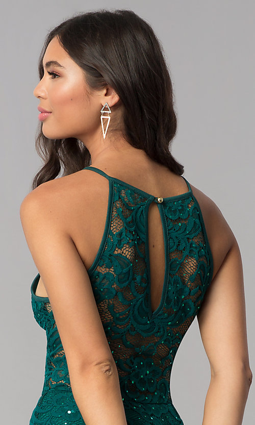 Image of short sequined-lace hunter green homecoming dress. Style: EM-DPS-3822-304 Detail Image 2