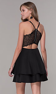 Image of black lace-bodice short tiered hoco party dress. Style: EM-HAT-1000-018 Front Image