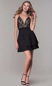 Image of black lace-bodice short tiered hoco party dress. Style: EM-HAT-1000-018 Detail Image 3