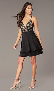 Image of black lace-bodice short tiered hoco party dress. Style: EM-HAT-1000-018 Back Image