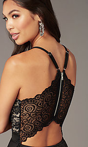 Image of black lace-bodice short tiered hoco party dress. Style: EM-HAT-1000-018 Detail Image 1