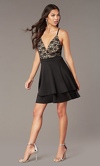 Black Lace-Bodice Short Tiered Hoco Party Dress