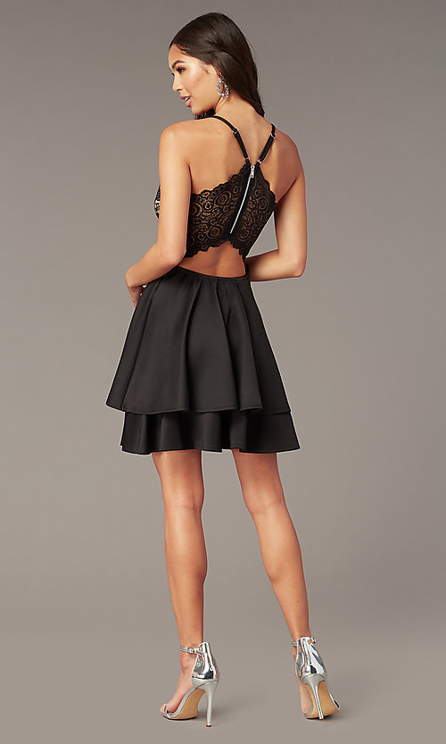 Image of black lace-bodice short tiered hoco party dress. Style: EM-HAT-1000-018 Detail Image 2