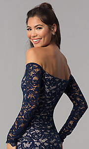 Image of navy sequin-lace short off-shoulder homecoming dress. Style: MY-4647XX1C Detail Image 2