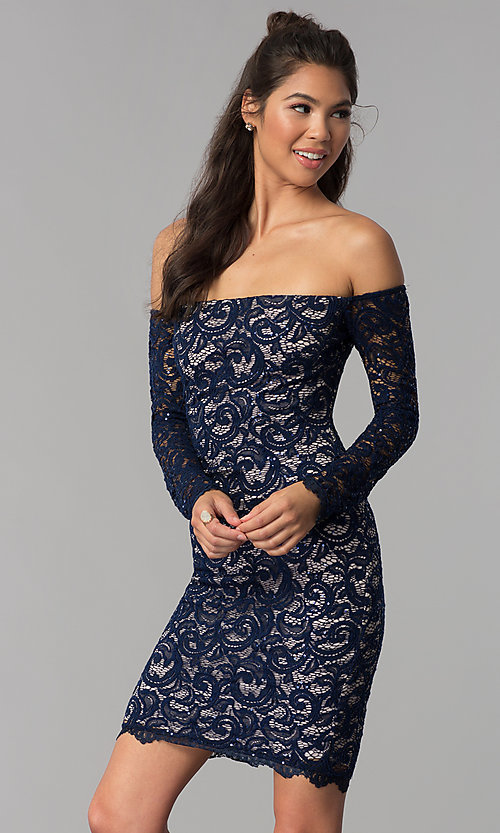 Image of navy sequin-lace short off-shoulder homecoming dress. Style: MY-4647XX1C Front Image