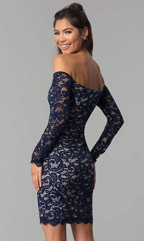 Image of navy sequin-lace short off-shoulder homecoming dress. Style: MY-4647XX1C Back Image