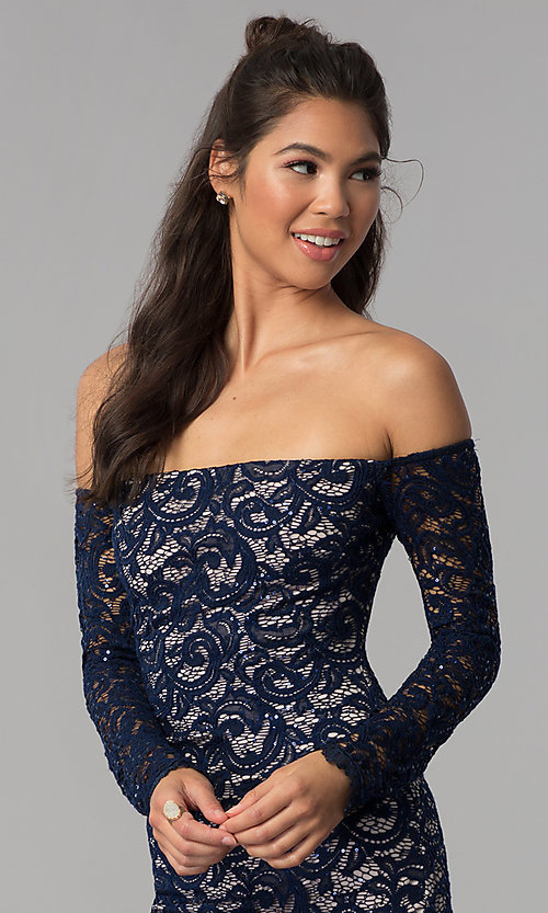 Image of navy sequin-lace short off-shoulder homecoming dress. Style: MY-4647XX1C Detail Image 1