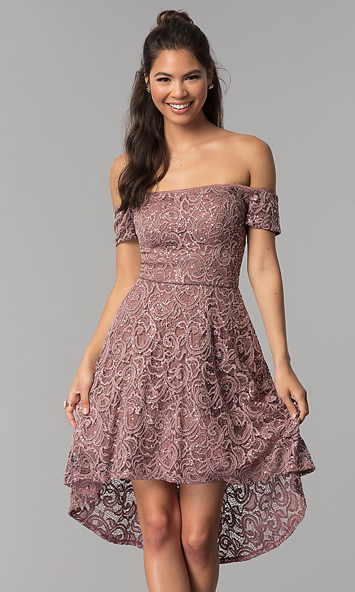 Image of off-shoulder high-low homecoming dress in lace. Style: MY-5237IW1P Front Image