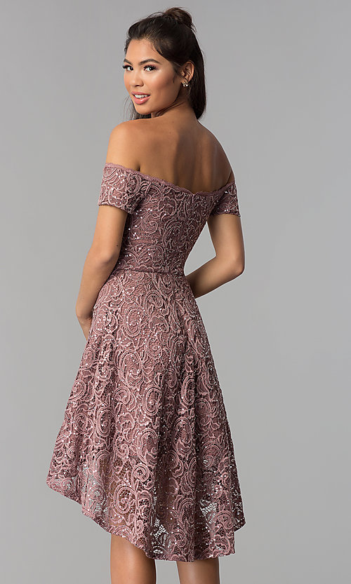 Lace Off The Shoulder High Low Homecoming Dress