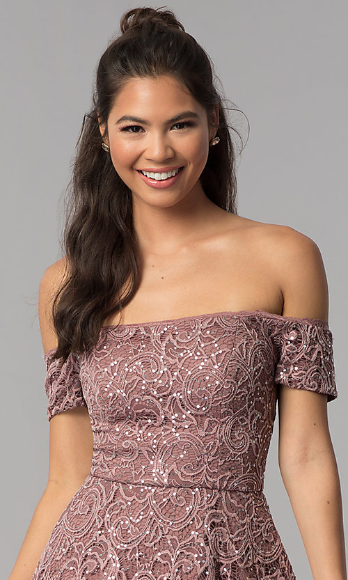 Image of off-shoulder high-low homecoming dress in lace. Style: MY-5237IW1P Detail Image 1