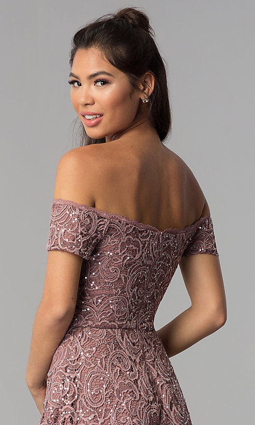 Image of off-shoulder high-low homecoming dress in lace. Style: MY-5237IW1P Detail Image 2