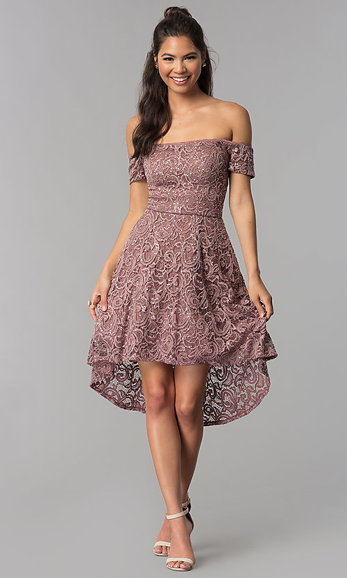 Image of off-shoulder high-low homecoming dress in lace. Style: MY-5237IW1P Detail Image 3
