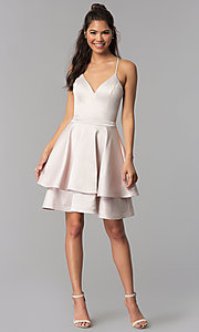 Image of buff pink tiered-skirt short satin homecoming dress. Style: MY-7071YB1P Detail Image 3
