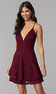 Image of homecoming v-neck short wine red lace party dress. Style: EM-FQP-3831-550 Back Image