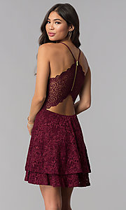 Image of homecoming v-neck short wine red lace party dress. Style: EM-FQP-3831-550 Front Image