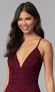 Image of homecoming v-neck short wine red lace party dress. Style: EM-FQP-3831-550 Detail Image 1