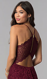 Image of homecoming v-neck short wine red lace party dress. Style: EM-FQP-3831-550 Detail Image 2