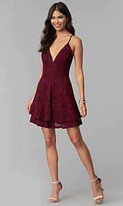 Image of homecoming v-neck short wine red lace party dress. Style: EM-FQP-3831-550 Detail Image 3