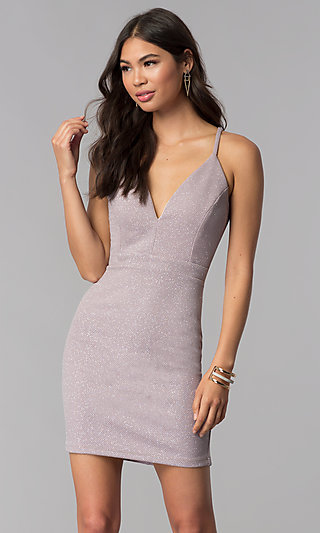Homecoming Short Lavender Glitter-Knit Party Dress