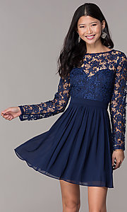 Image of navy blue short homecoming dress with long sleeves. Style: LP-PL-25720 Front Image